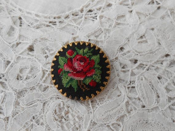 Petit point rose brooch 1930