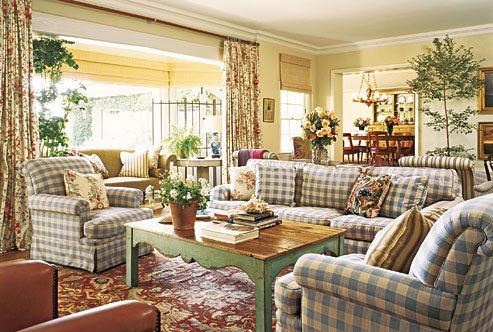 Comfortable family room seating in buffalo check fabric - Michael S. Smith