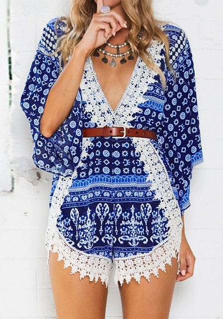 Summer is just around the corner. Get ready for it by grabbing this breezy floral-printed crochet hem plunge romper here to enjoy a lazy day out in the sun. #lookbookstore #FashionClothing