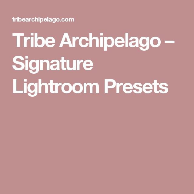 Tribe Archipelago – Signature Lightroom Presets