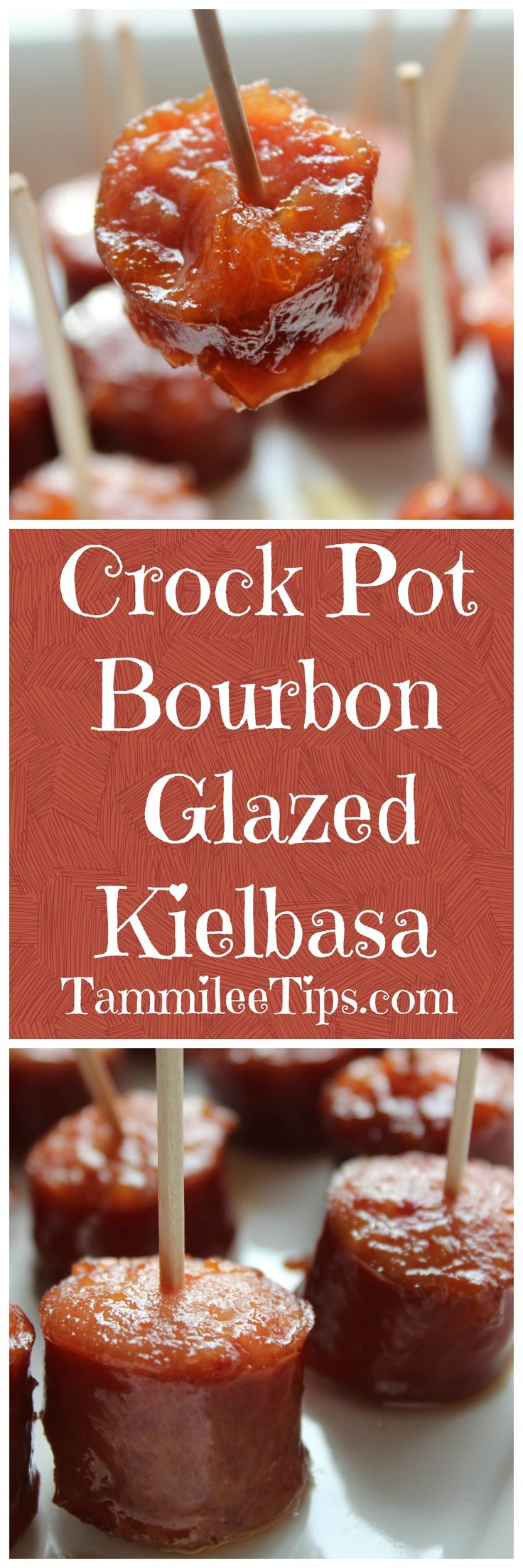 Crock Pot Bourbon Glazed Kielbasa Recipe is so easy! Great appetizers recipes for your football party, dinner, for a crowd, baby shower, birthday, friends or families dinners. So simple and easy to make!