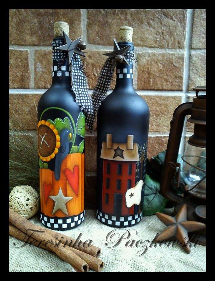 Teresinha Paczkowski: garrafas decoradas                                                                                                                                                                                 Mais