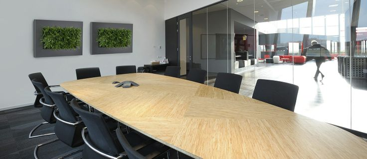 Boardrooms - two rectangular Live Pictures positioned close together in a Board Room, using simple same species planting for maximum visual effect - see more at http://officelandscapes.co.uk/blog/live-picture-living-plant-art-for-birmingham-restaurant/