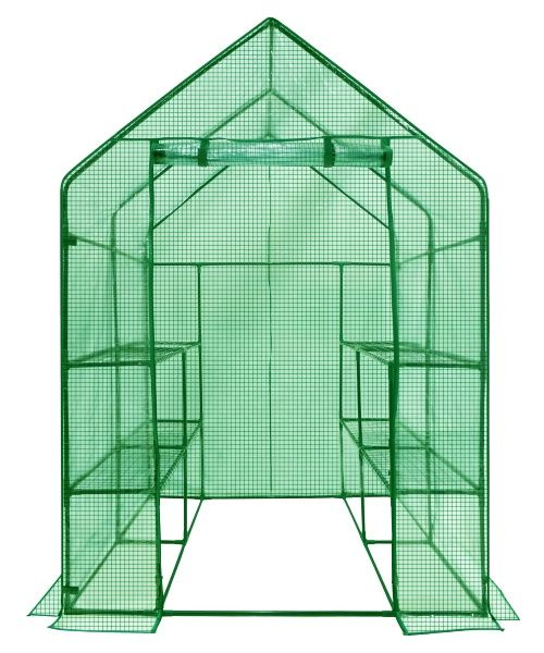 Ogrow Deluxe Walk-In Greenhouse with Cover - 2-Tier 8-Shelf - Greenhouses at Hayneedle