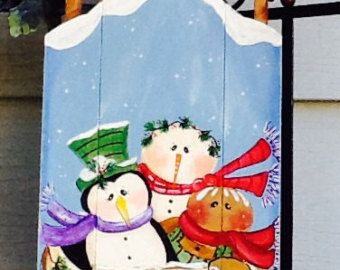 snowman wooden sled, snowmen sled sign, penguin sled, gingerbread sled, christmas sled, holiday sled, christmas outdoor decoration