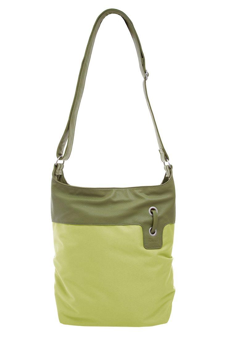 Frauentaschen :: BONJOUR :: B12 | ZWEI Taschen Handtasche :: Nylon :: Materialmix :: grün :: lederfrei