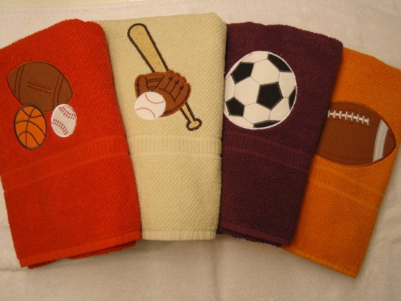 Half Pint Shop Customized Appliqued Bath Towels with Sports Theme- FREE PERSONALIZATION with child's name. $18.00, via Etsy.