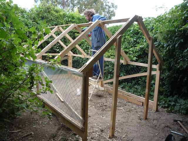 Home-made low cost pallet wood greenhouse, viable, safe, year-round food production.