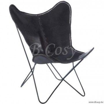 J-Line Zwarte vintage lounge vlinder stoel zwart leder