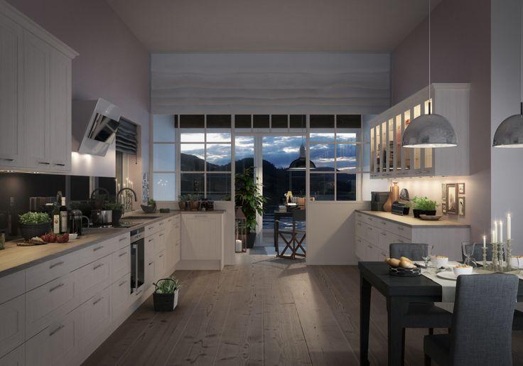 Köket Form ek kritvit från Marbodal med massiv ram och fanerad spegel. Handtag Kompass och bänkskiva laminat Delano oak. Vitrinskåp med inbyggd belysning. Vitvaror från Siemens. Fläkt Elica.