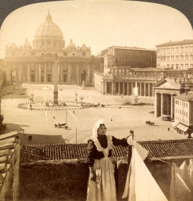House with a view - right in front of St. Peters and the Vatican, Rome, Italy, 1905.