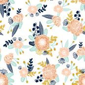 florals peach navy blue mint gold flowers painted floral painted flowers fabric nursery floral fabric by charlottewinter