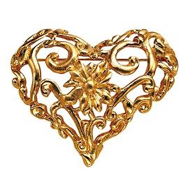 Gold brooch heart