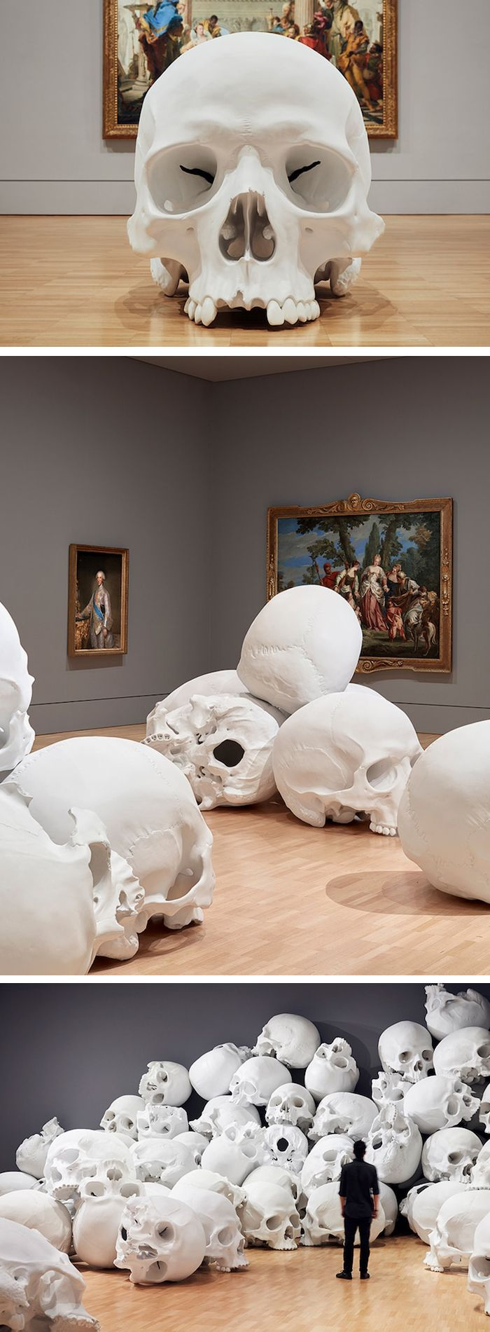 Artist Ron Mueck has unveiled his largest installation called 'Mass', a collection of 100 monumental hand-cast skulls.