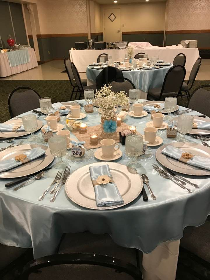 Table setting for baby shower. Setting were purchased online from walmart, party supply discount store, and party stores. I used coupon codes to save money and free shipping.