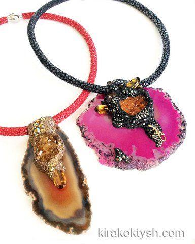 Kira Koktysh Jewelry  Necklaces (Materials: Genuine Polished Stingray Skin Necklace, Agate slice, Citrine Cluster, Swarovski crystals, ) http://www.fromrussia.com/fashion-jewelry