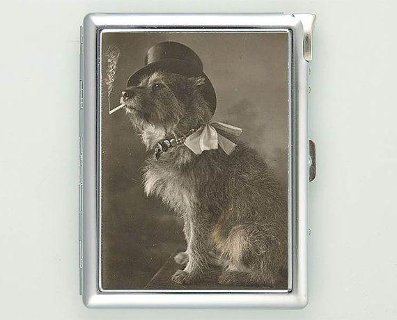 Dog Smoking Vintage Cigarette Case with Lighter Wallet Business Card Holder ***********************************  We sell only case & lighter. We do