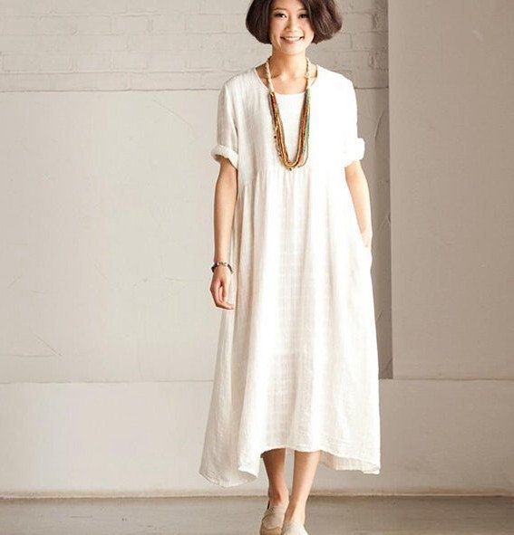 Loose Fitting Long Maxi Dress - Summer Dress in White(R) - Short Sleeve Cotton Sundress for Women