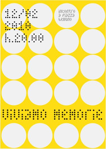 Containment of the text within a circle. Containment of the heading between two rows of white circles. Containment of the 12/02 text in the upper left hand corner, but still controlled by the flush left alignment with the heading below. Poster by Giuseppe De Luca.