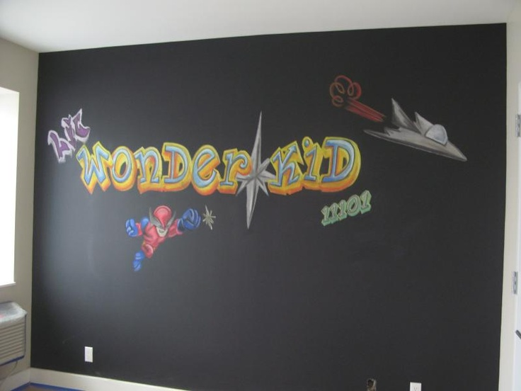 Graffiti, Streetart wall mural done in Chalk for a model apartment. The room was designed for a 10 year old boy, who wanted to be a super hero. The condo is located in LIC (Long Island City) and 11101 is the zip code.