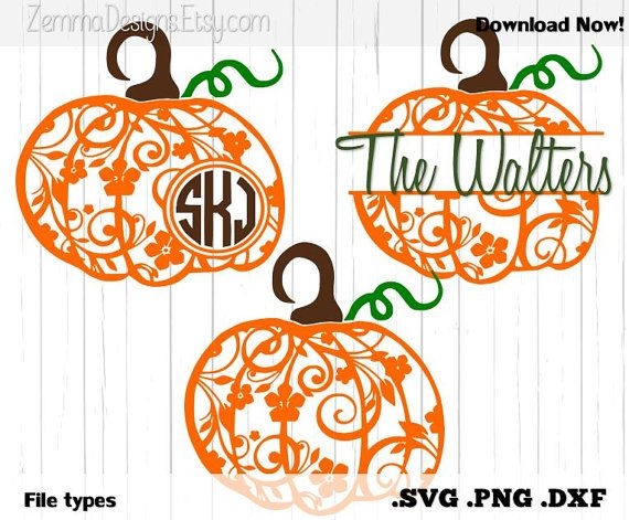 Cute flourish pumpkins!!! svg files, files for cricut, cute cutting files, cutting files, cricut, cricut expression, design space, cricut design space. Pumpkin flourish halloween bundle file types. .DXF by ZemmaDesigns