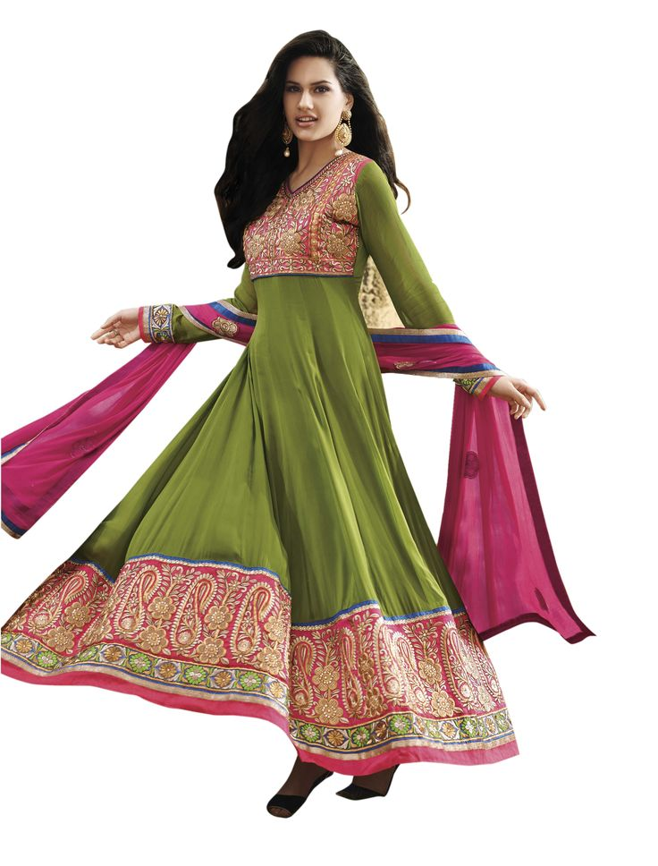 Side view of Green Embroidered Pure Georgette Semi Stitched Floor Length Anarkalis Salwar Suit #DesignerSlawarkameez, #MagentaSalwarKameez #WeddingSalwarKameez, #NetFabricSalwarkameez, #EmbroideredWorkSalwarKameez #EmbroidedSalwarKameez  #WeddingDress #PartyWearDress #AnarkaliSalwarkameez #AnarkaliDress #AnarKaliSuit #DesignerAnarkali #BridalSalwarKameez #SalwarKameezWithDupatta #GreenSalwarKameez #GreenSalwarSuits #GreenAnarkaliSuits #CaualAnarkaliDrees #CasualSalwarKameez