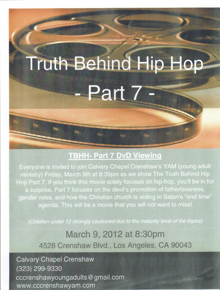 Join Calvary Chapel Crenshaw 3/9/2012 to learn about the things the world hides from you.