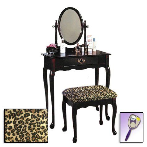 New Cherry Finish Queen Anne Make Up Vanity Table With Mirror U0026 Themed Bench  (Leopard Print Bench)
