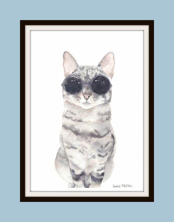 Cat with Glasses Watercolour Print- Cat Print- Cat Watercolour- Hipster Cat- Pet Watercolour- Cat Portrait- Art by Lewis Hanson