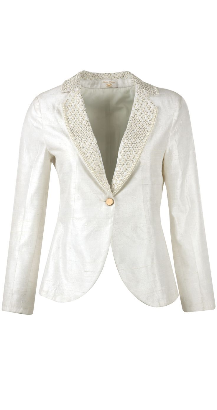 Blazer with pearl embroidered collar BY BHAAVYA BHATNAGAR ON SALE UPTO 70%OFF. Shop now at:http://www.perniaspopupshop.com/ #perniaspopupshop #blazer #pearl #embroideredcollar #sale #deals #discounts #label #love #designer #stylish #happyshopping