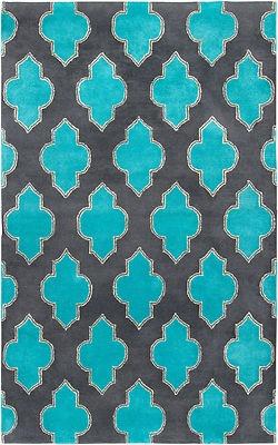 New Area Rug 8x10 Wool Modern Charcoal Gray Teal Aqua Moroccan Contemporary Ebay 850