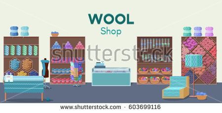 Wool shop interior template with yarn skeins, knitting tools,  machine and handmade hobby accessories in flat style vector illustration