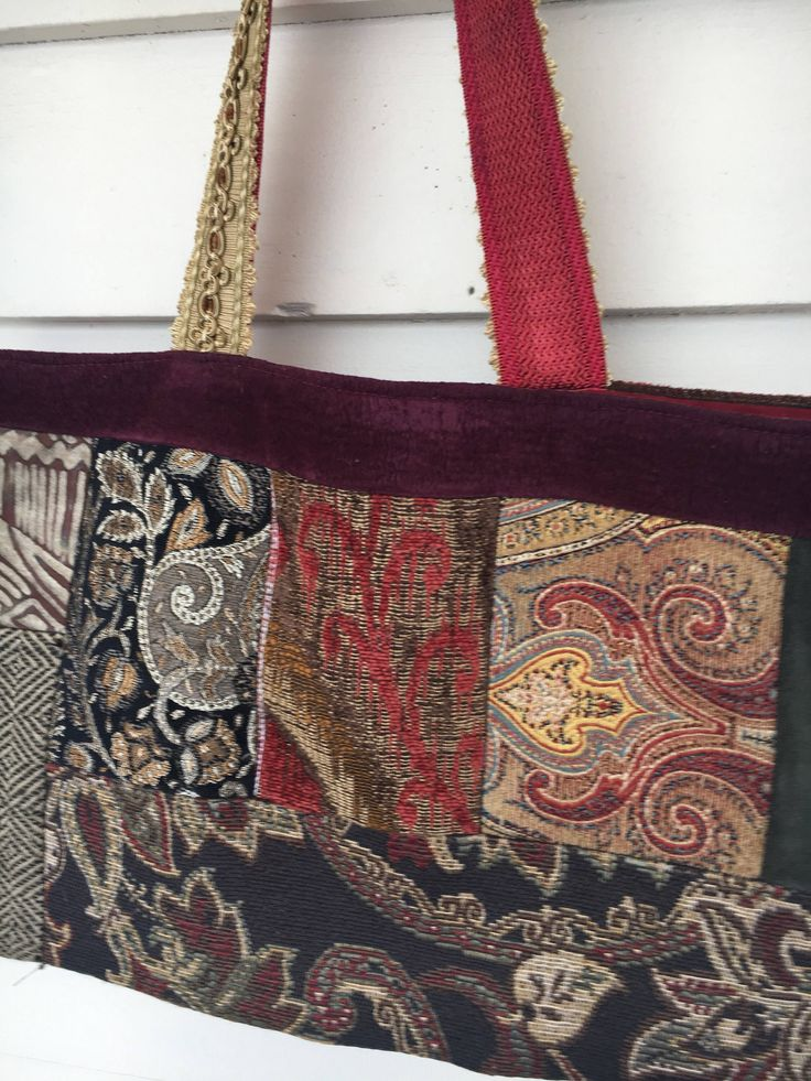 Excited to share the latest addition to my #etsy shop: Patchwork tote in velvet and tapestry -Batooli Bags