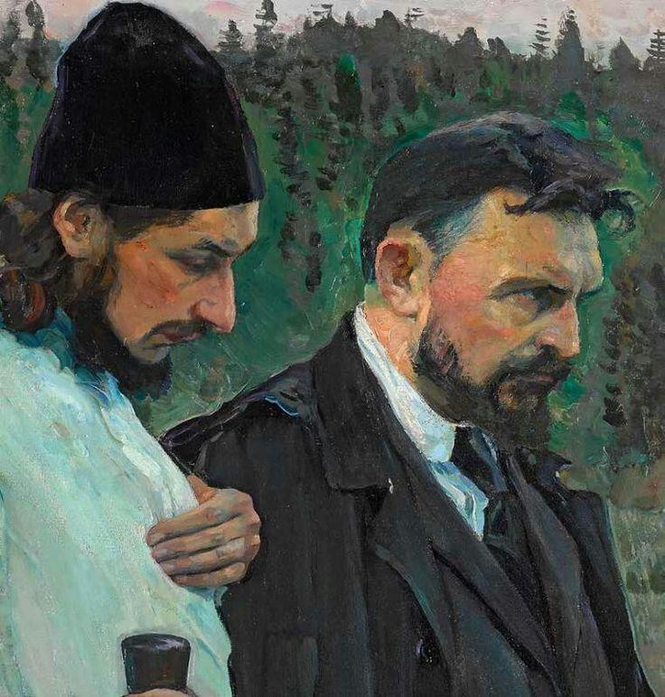 Michail Nesterov - Filosofi (dettaglio) Pavel Florenskij con Sergej Bulgakov 1917