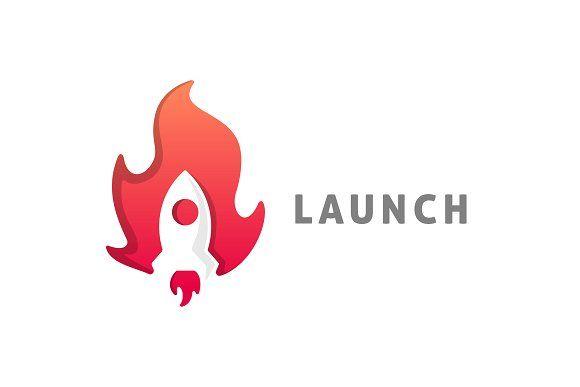 Launch Fire And Rocket Logo By Shd On Creativemarket Rockets Logo Logo Design Template Modern Logo Design