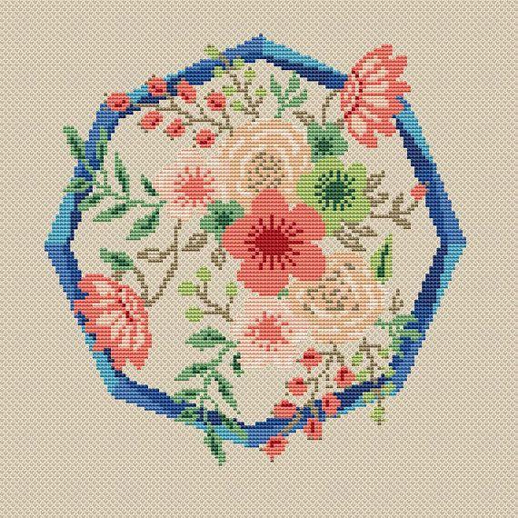 Chart Counted Cross Stitch Pattern Needlework Xstitch Flowers