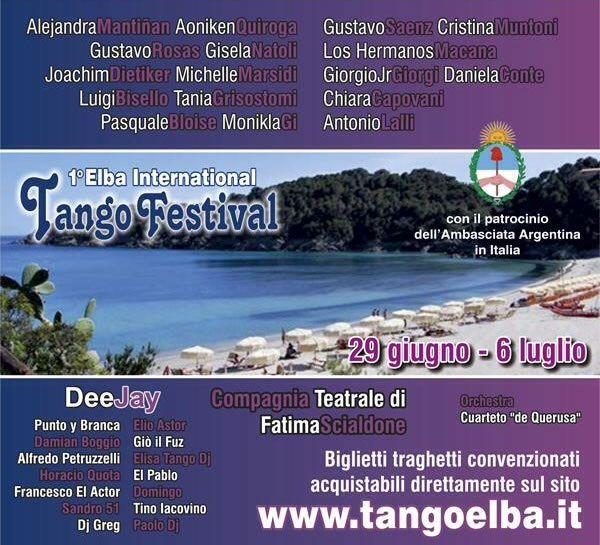 Dal 29 giugno al 6 luglio a Marina di Campo una settimana tutta dedicata al Tango argentino con Maestri eccellenti. Si può ancora prenotare per lezioni individuali o in gruppo e per partecipare alle varie Milonghe. - See more at:  http://www.infoelba.it/informazioni-utili/ultime-notizie/elba-international-tango-festival/#sthash.KpWLBa2s.dpuf