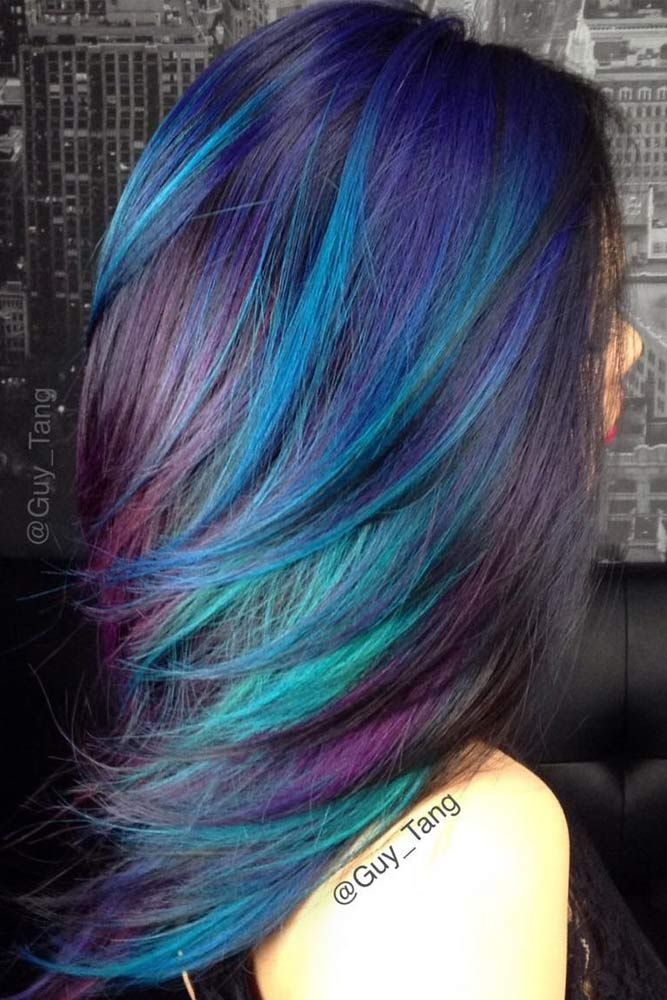 55 Fabulous Rainbow Hair Color Ideas Hair Color Blue