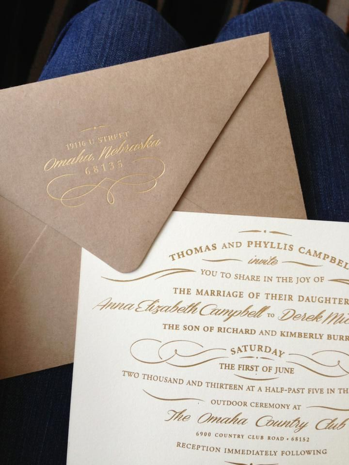 Wedding invitations, gold foil on Kraft envelopes and natural cotton paper | www.meldeen.com