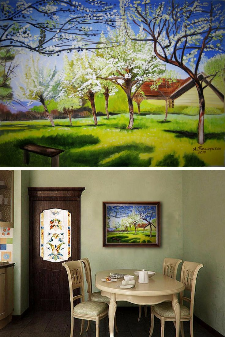 """Apple trees in Bloom inspired by Isaac Levitan. Original Oil Painting on Canvas. Landscape Painting. Wall Art. Personalized Gift. Contemporary Art. Canvas Painting. Perfect Gift for Her. Wall Decoration. 2017. 18""""x 24"""", 46 x 61 cm. Unframed. AVAILABLE FOR IMMEDIATE PURCHASE.   This painting was inspired by 'Apple trees in Bloom' by Isaac Levitan (1860-1900).   I have recreated this beautiful Levitan piece by hand so you can enjoy it in your own home. Display it in your own house or office..."""
