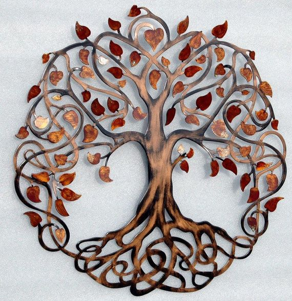 Red and Gold Infinity Tree Metal Tree Wall by HumdingerDesignsEtsy