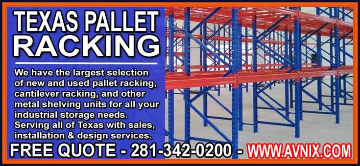 Pallet Racks For Sale FREE Quote – 281-342-0200 Avnix is your destination for complete new & used pallet racking. We offer installation and design services that will meet or exceed all your storage needs. Avnix specialize in teardrop designed pallet … Continue reading →