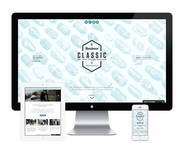 Design and build for Rouleur Classic Bike Show  This responsive website shows off the complete range of talks, workshops and activities that are taking place during the exclusive event, along with providing constantly updating information on Special Guests and of course buying tickets.