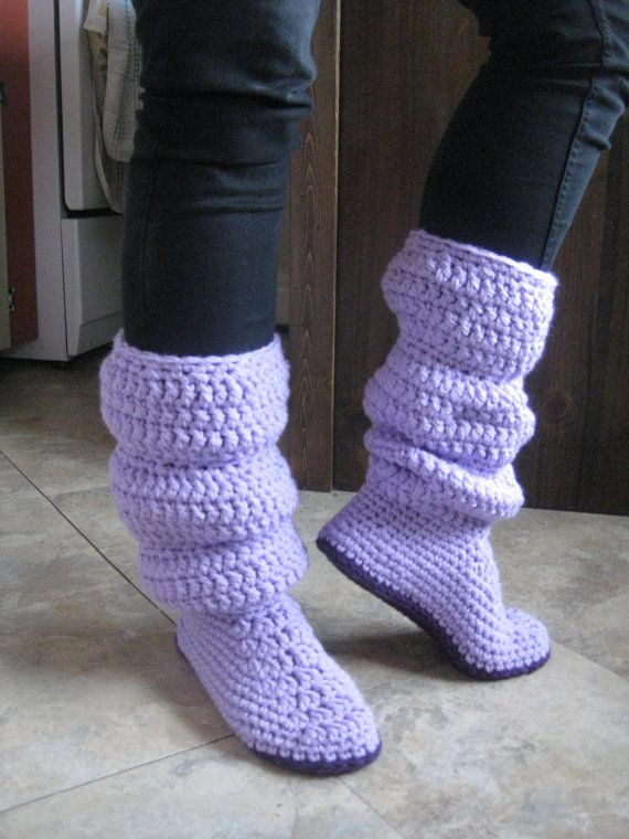 Winter slouch boot crochet slippers by MimicoCrochet on Etsy