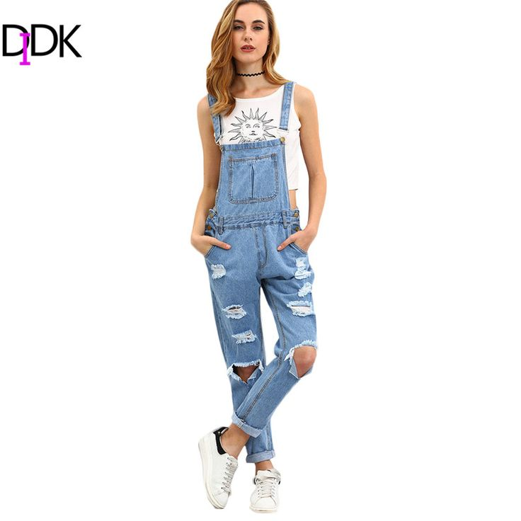 DIDK Womens Summer Outfits Ladies Jumpsuits and Rompers Sleeveless Blue Strap Ripped Denim Loose Overall Jumpsuit