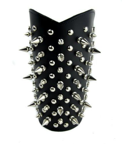Spike and Stud Leather Wristband Heavy Metal Armband Gauntlet from Dysfunctional Doll.