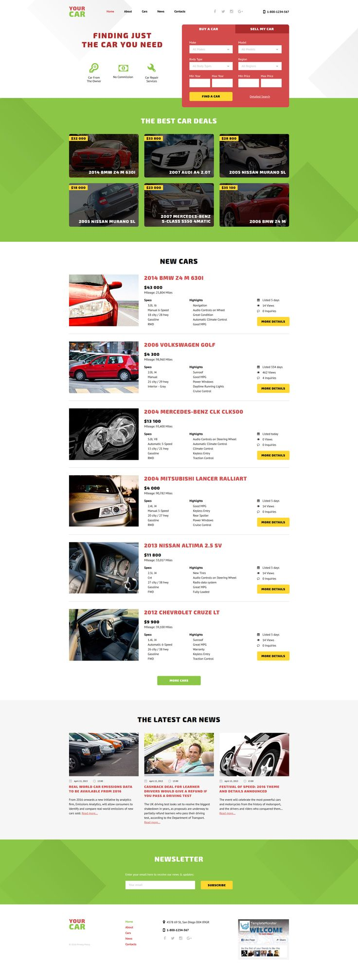 your car website template