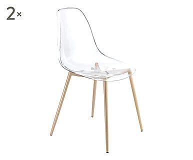 Set di 2 sedie in metallo e metacrilato Kall, 86x44x53 cm