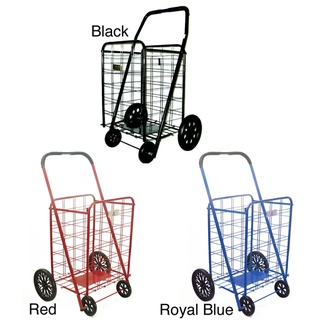 @Overstock - Shopping cart ideal for carrying groceries or laundryEasy-to-assemble personal shopping cart folds flat for storageShopping cart comes in royal blue, red and black color optionshttp://www.overstock.com/Home-Garden/Extra-Large-Heavy-duty-Shopping-Cart/3238163/product.html?CID=214117 $36.78