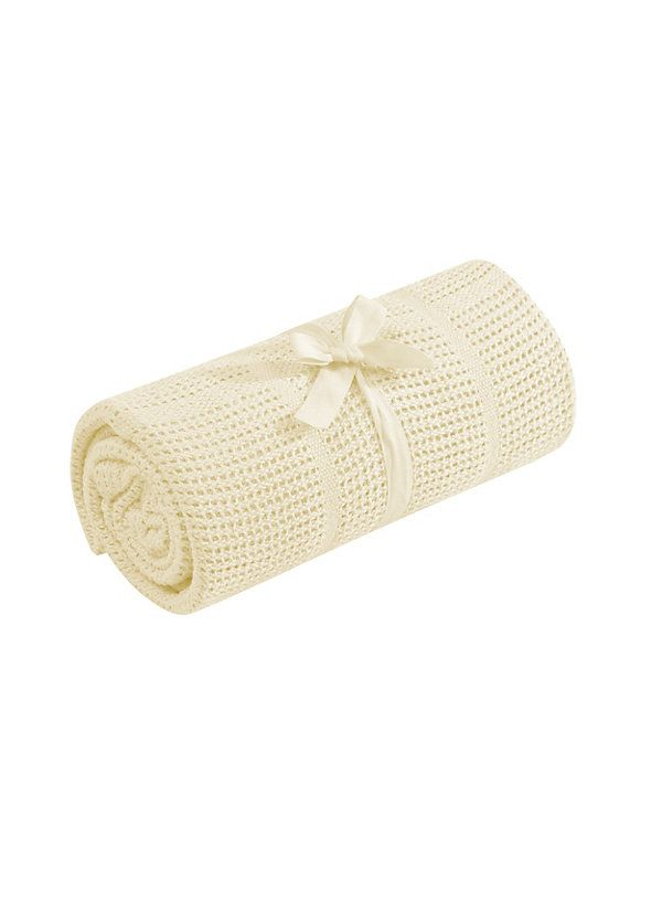 Mothercare Cot or Cot Bed Cellular Cotton Blanket- Yellow [X3716] - £1.00 :